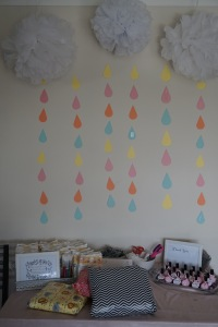 Rain clouds baby shower decorations. Very inexpensive decoration