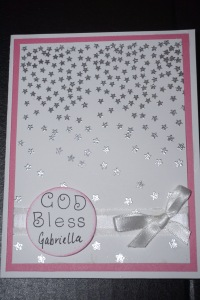 Heat embossed Christening card.