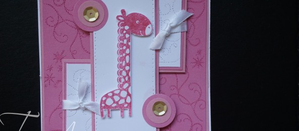 CTMH baby girl card with paper pierced background