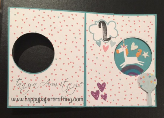Inside image of peek-a-boo card using CTMH little dreamer paper packet and complements
